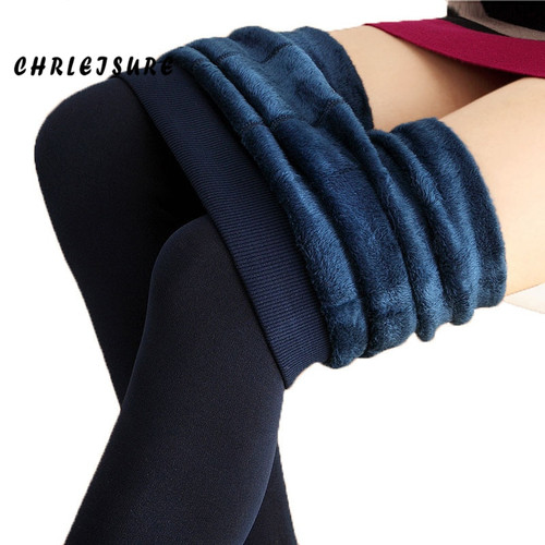 CHRLEISURE Warm Women's Plus Velvet Winter Leggings Ankle-Length Keep Warm Solid Pants High Waist Large Size Women Leggings