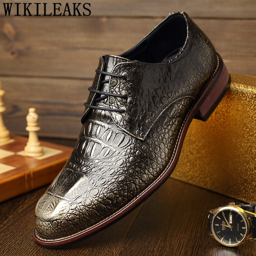 Italian Men Formal Shoes Pointed Toe Genuine Leather Oxford Shoes For Men Dress Shoes Business Crocodile Shoes Zapatos De Hombre