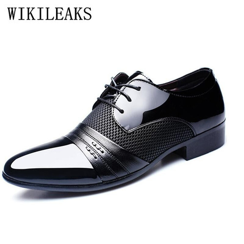 mens pointed toe dress shoes zapatos hombre Patent Leather shoes men formal shoes designer luxury brand gelinlik wedding shoes