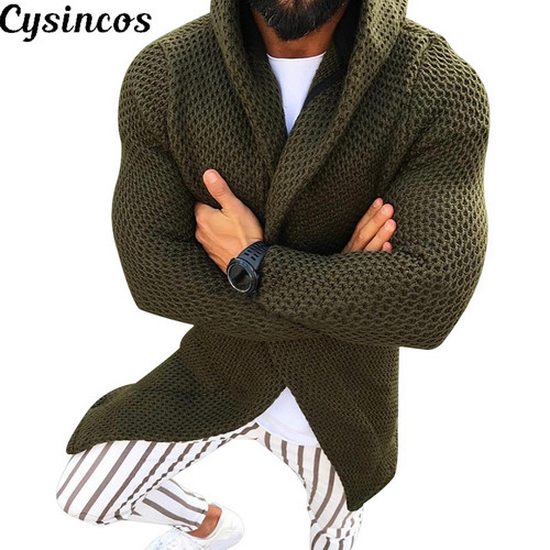CYSINCOS Men Long Sleeve Midi Sweater Black Cardigan Mens Coat Winter Autumn Casual Solid Color Cardigan Male Pull Homme Hiver