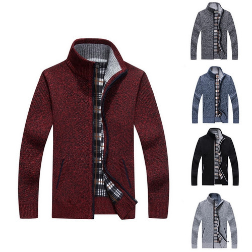 2019 Autumn New Cardigan Knitted Men Sweater Winter Warm Casual Thicken Solid Stand Collar Slim Sweater Male Outwear Hombre