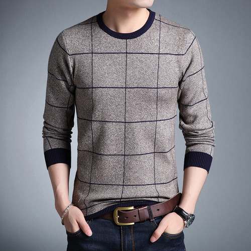 Casual Men's Sweater O-Neck Striped Slim Fit Knittwear 2019 Autumn Mens Sweaters Pullovers Pullover Men Pull Homme M-3XL