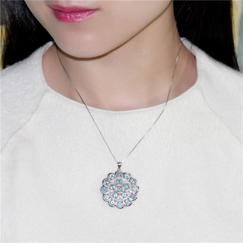 Almei 7.2ct Big 925 Sterling Silver Light Blue Topaz Crystal Stone Round Pendant Natural Rhinestone Jewelry with Chain Box CN053