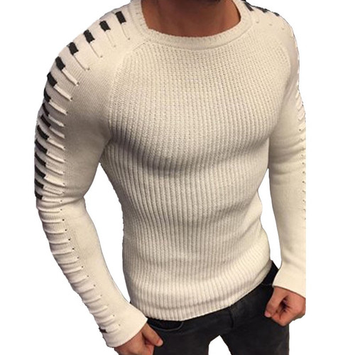 Autumn Winter Sweater Men 2018 NewArrival Casual Pullover Men Long Sleeve O-Neck Patchwork Knitted Solid Men Sweaters Size M-3XL