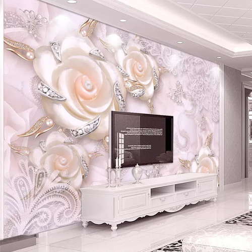 Custom Photo Wallpaper For Walls 3D Pink Flower Jewelry Pearl Wall Mural Living Room Bedroom TV Backdrop Wall Papers Home Decor