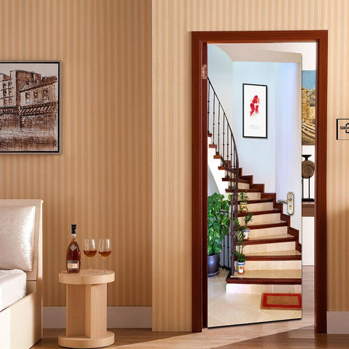 3D Staircase Door Sticker Creative Art PVC Self-adhesive Bedroom Living Room Wall Decor Door Stickers Mural Wallpaper Waterproof