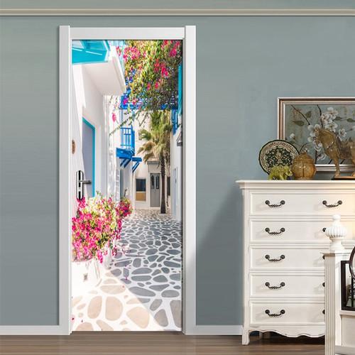 Living Room Bedroom Door Wall Sticker PVC Waterproof Wallpaper Decoration Romance Greek Street View 3D Door Mural Wallpaper Roll