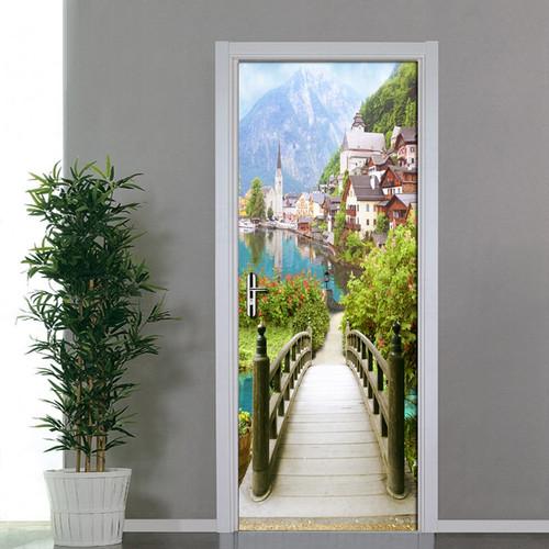 European Wooden Bridge Ancient Town Scenery Door Stickers 3D Wallpaper Living Room Bedroom PVC Waterproof Door Stickers 3D Mural