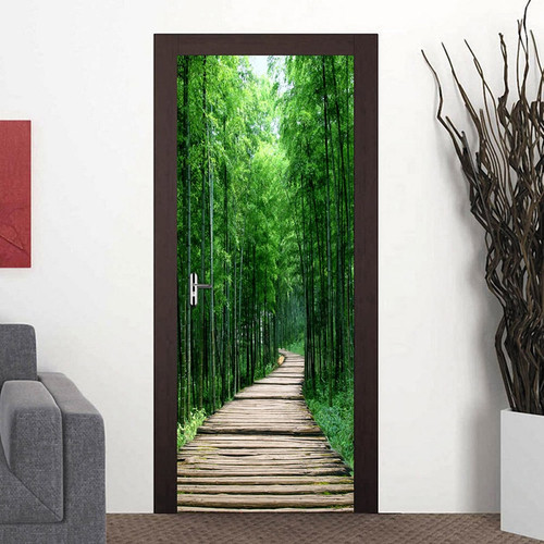 Bamboo Forest Wood Board Small Road 3D Photo Wallpaper Wall Painting Living Room Bedroom Door Sticker Decoration Mural De Parede