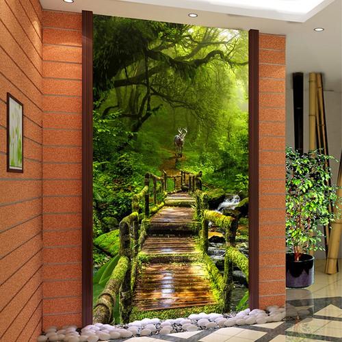 Custom 3D Photo Wallpaper Virgin Forest Wood Board Road 3D Living Room Entrance Hall Corridor Background Wall Mural Home Decor
