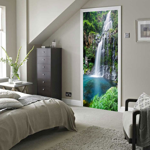 Waterfall Landscape 3D Photo Wallpaper Living Room Bedroom Study Door Sticker Mural PVC Self Adhesive Waterproof Vinyl Wallpaper