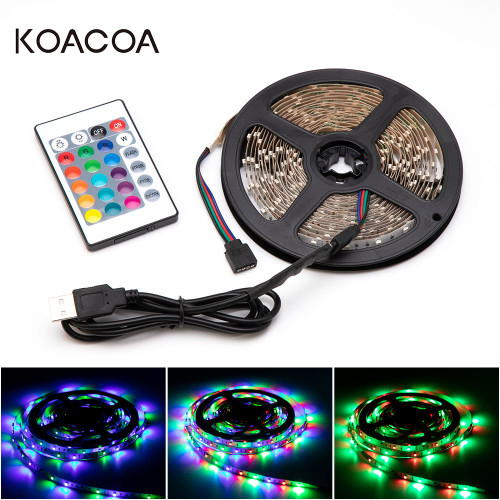 USB Powered DC 5V LED Strip light RGB Tape Ribbon 2835 SMD 1M 2M 3M 4M 5M TV Desktop Screen Backlight Lighting