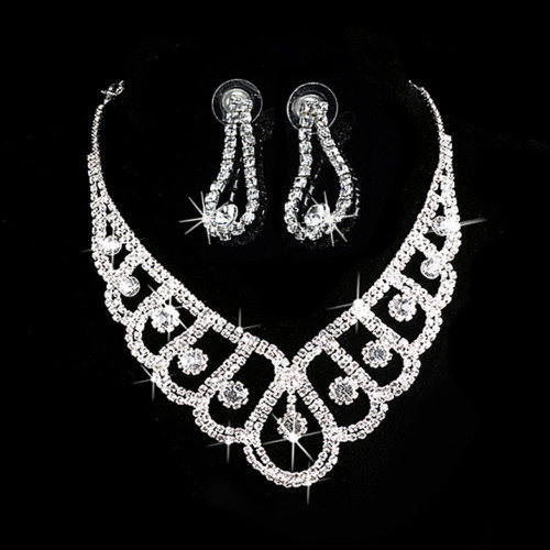 New Fashion Silver Crystal Wedding Bridal Prom Rhinestone Necklace Earrings Jewelry Sets