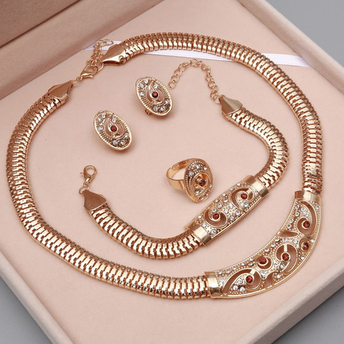 amazing price Fashion African Dubai Gold Jewelry Nigerian Crystal Necklace Hoop Earrings Women Italian Bridal Jewelry Sets