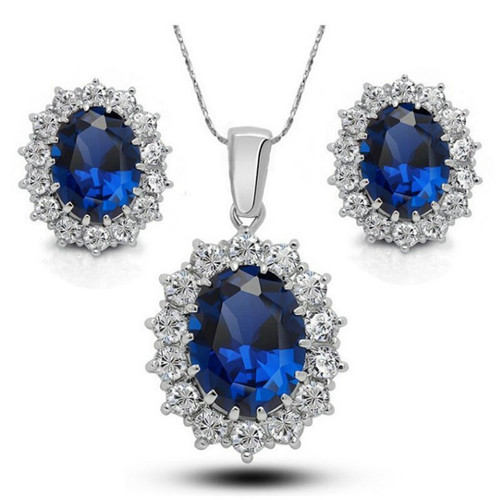 High-grade Royal Family Princess Diana Kate Wedding Earrings Necklace Set European American Shining Blue Gem Crystal Jewelry Set