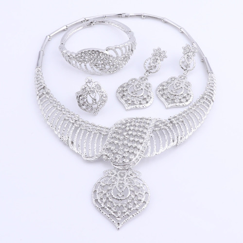 CYNTHIA New Fashion African Jewelry Set Dubai Silver Plated Bridal Necklace Earrings Set Crystal Indian Wedding Jewelry