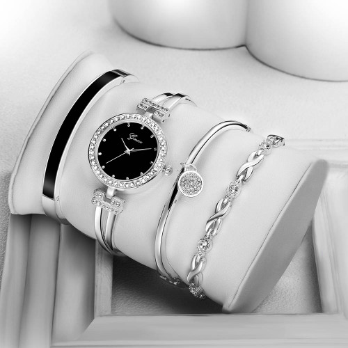 New Fashion Elegant Women Watches Silver Crystal Bracelet 4pcs Set Luxury Golden Steel Ladies Quartz Wristwatches Gift