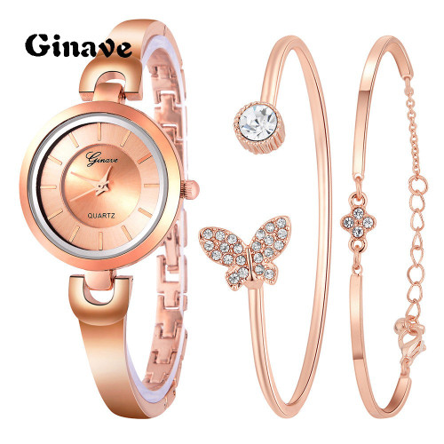 Casual Elegant Butterfly Quartz Bracelet Watch 3 PCS Set Women Rose Gold Simple Jewelry Ladies Small Dial Wristwatch