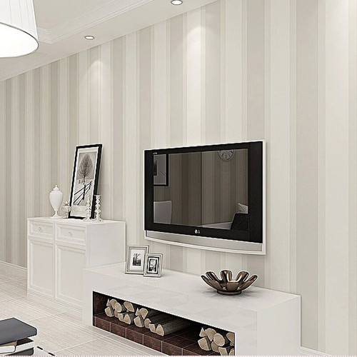 Modern Minimalist Stripe Flocking Wall Paper Glitter Non-woven Fabric Background Wall Wallpaper For Living Room WP16066
