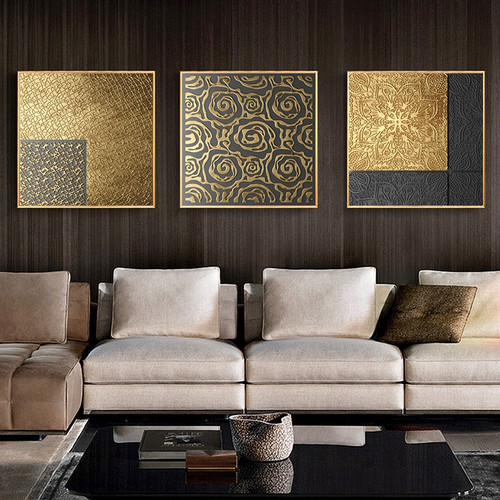Vintage Abstract Print Home Wall Art Home Decor Poster Living Room Picture Retro Minimalist Art Gold Luxury Decor Painting