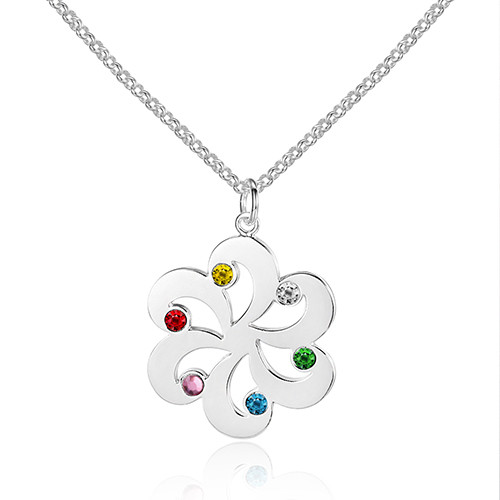 925 Sterling Silver Colorful Birthstone Name Necklace Flower Pendants Customized Women Jewelry Personalized Gift (NE101607)