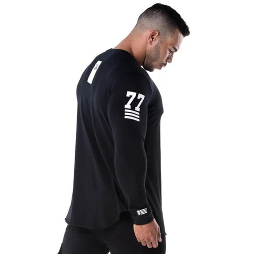 Men Skinny Long sleeve Shirts Spring 2019 Casual Fashion Printed T-Shirt Male Gyms Fitness Black Tee shirt Tops Brand Clothing