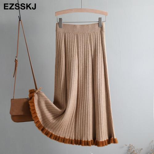warm Vintage Winter Women thick sweater skirt High Waist Pleate Midi knitted Skirt A-line please female elegant Skirts