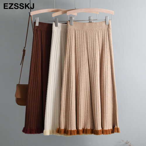 warm Vintage Winter Women thick sweater skirt High Waist Pleate Midi knitted Skirt A-line please female elegant Skirts