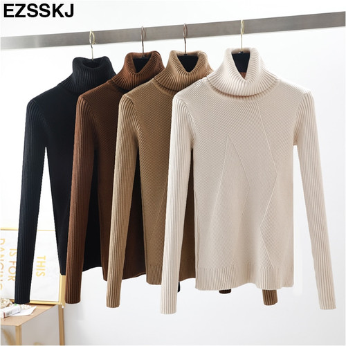 chic Autumn winter thick Sweater Pullovers Women Long Sleeve casual warm basic turtleneck Sweater female knit Jumpers top