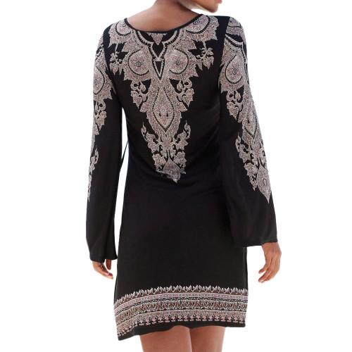 Autumn Winter Midi Dress Women 2019 Vintage Print Lace Up Long Sleeve Casual Ladies Elegant Dresses Party Dress Women Clothes