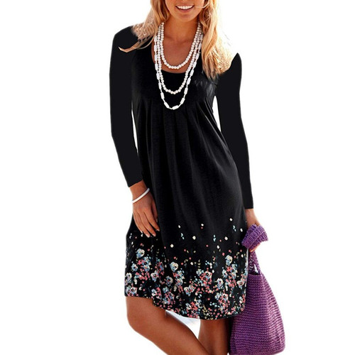 2019 Autumn Elegant Digital Print Beach Dress O-Neck Pleated Hem Sexy Women's Dresses Fashion Empire Long Sleeve Dress Plus Size