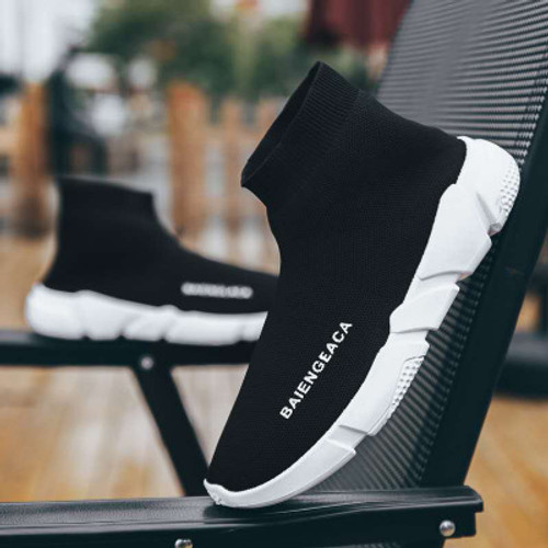 2019 autumn new casual high-top sneakers Korean version of the trend male shoes couple models elastic socks shoes