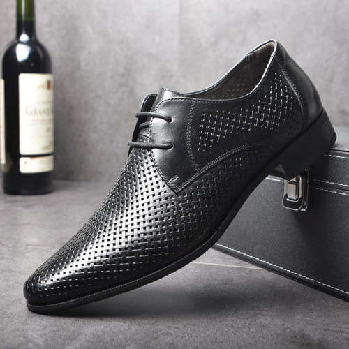 OSCO Summer Fashion Formal Men Shoes Punch Lace Breathable Hollow Business Dress Shoes Genuine Leather Casual Sandals Oxfords