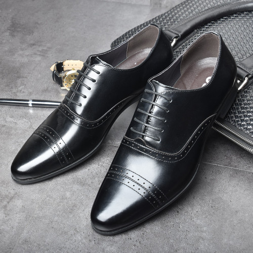 OSCO Fashion Trends Brocade Carved Business Dress Genuine Leather Men Shoes Wedding Shoes Casual Office Work Shoes Male Oxfords