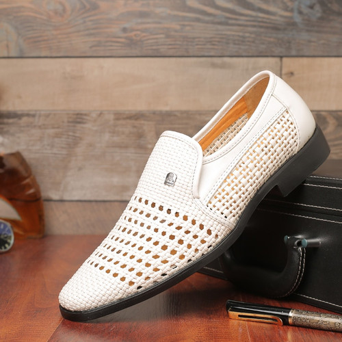 New Summer Men's Leather Sandals Genuine Leather Soft Bottom Slip-on Shoes Hole Shoes Middle-aged Hollow Weave Dad Shoes
