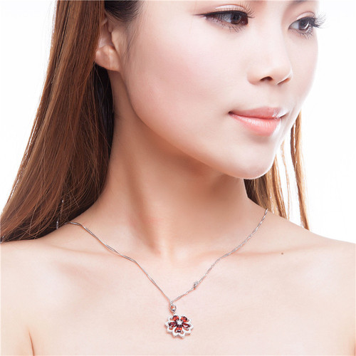 Almei 2.5CT Red Garnet Gemstone Sunflower Pendant Suspension Necklace Real 925 Sterling-Silver-Jewelry for Wedding Gift10% CN004