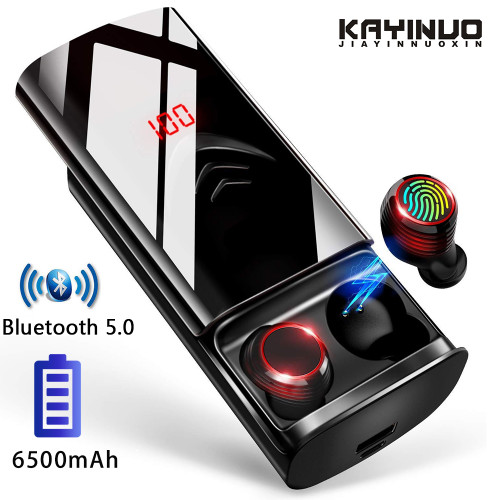 TWS True 5.0 Bluetooth Earphones Sport In-ear Wireless Earbuds IPX6 Waterproof Headphones For Phone With 6500mAh Charging Case