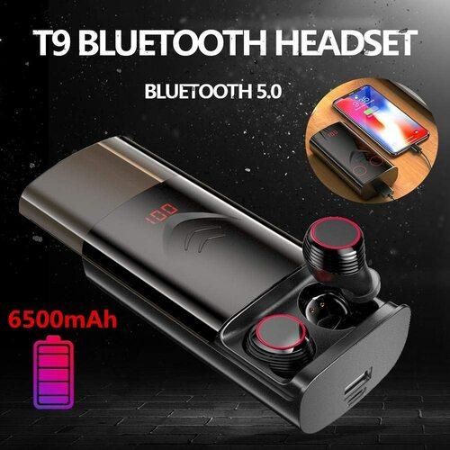 TWS True 5.0 Bluetooth Earphones Sport In-ear Wireless Earbuds IPX6 Waterproof Headphones For Phone With 6500mAh Charging Case