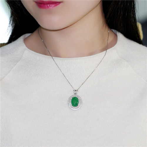Almei 8ct Chalcedony Real 925 Sterling Silver Jewelry Green Crystal Natural Stone Statement Pendant Necklace Free Box 40% FN076