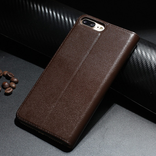 Retro Luxury Leather Flip Case for iPhone 8 plus Genuine Cowhide Flip Case for Apple iPhone 7 plus/7/8/10 X Magnetic Closure