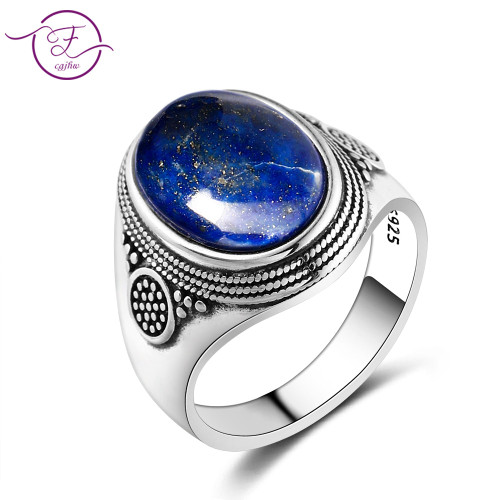 Charm Noble 100% 925 Silver Ring 10x14MM Lapis Lazuli Wedding Ring Girl Female Party Anniversary Birthday Gift