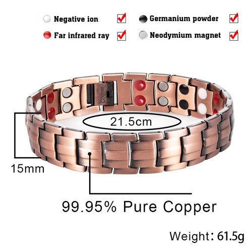 LITTLE FROG Drop Shipping Vintage Copper Magnetic Bracelet for Man 2 Row 4 In 1 Elements Healthy Healing Therapy Energy Bangles