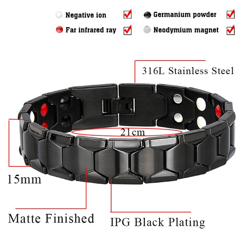 LITTLE FROG Health Magnetic Therapy Bracelet Men Jewelry Black 316L Stainless Steel 4 Elements Bracelets & Bangles 10239