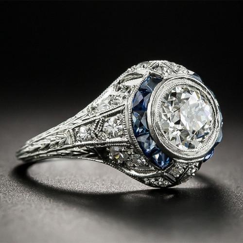 Nasiya 925 Silver Sapphire Gemstone Round White Zircon Wedding Engagement Rings For Women Fine Jewelry Ring Gifts Wholesale