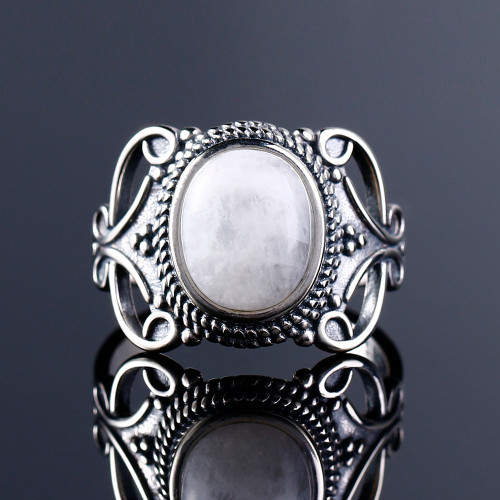 Nasiya New Vintage Ethnic Rings For Men Women Sterling 925 Silver Fine Natural Moonstone Jewelry Wholesale Dropshipping Gift