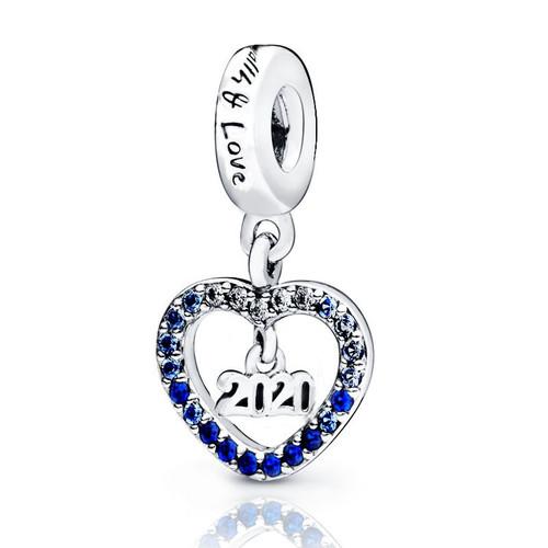 2019 winter New 100% 925 Sterling Silver Beads 2020 New Year Charm Charm fit Original Pandora Bracelets Women DIY Jewelry