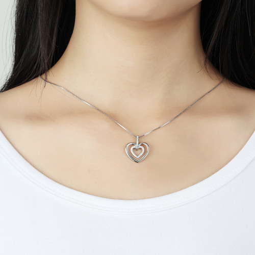Mopera 100% Real Silver Pendant Necklace Double Love Crystal Pendant With Chain 925 Sterling Women Christmas Jewelry Gift