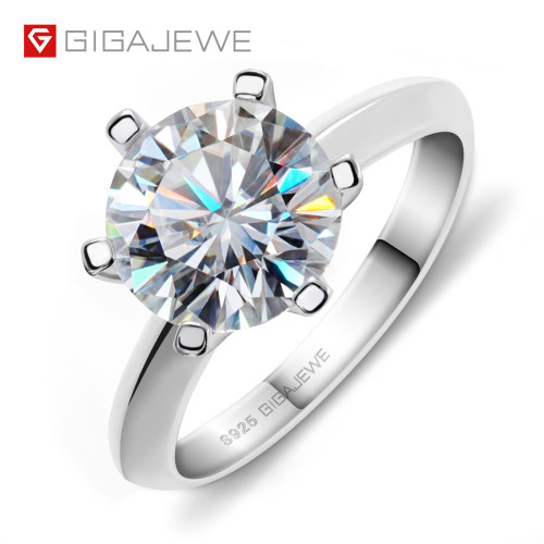 GIGAJEWE 3.0ct 9.0mm EF Round 18K White Gold Plated 925 Silver Moissanite Ring Diamond Test Passed Jewelry Woman Girlfriend Gift
