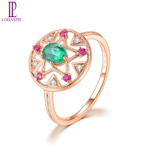 LP Diamond Jewelry 18K Rose Gold Natural Precious Emerald Real Ruby Diamond Engagement Finger Ring for Women Christmas Gif