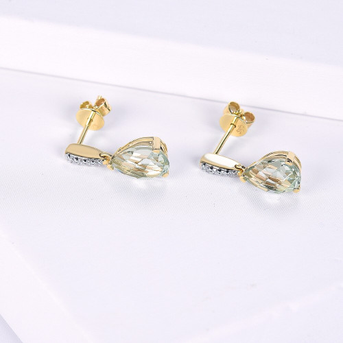 LP Natural Gemstone Green Amethyst 2.68ct Real 14KY Gold Engagement Drop Diamond Earrings Fine Jewelry For Women's Girls Gift